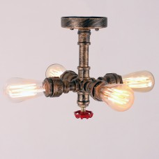 Rustic Copper Pipe Semi Flush Mount Light with 4 Bulb Sockets 60W