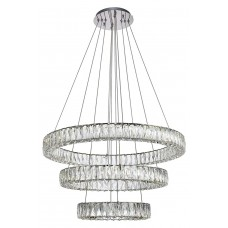 Modern Crystal Chandelier Lighting Ceiling Light Fixture LED Contemporary Adjustable Stainless Steel 3 Rings Chandeliers Lights D28+20+12 (Big Crystal)