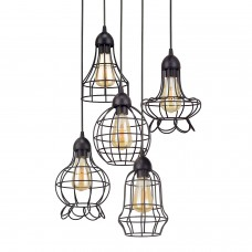 Rustic Industrial 5-Light Adjustable Cage Metal Multi-Pendant Chandelier