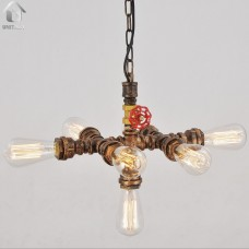 Rustic Copper Water Pipe Chandelier Max .420W With 7 Lights Painted Finish