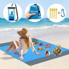 Oversize Waterproof Sand Free Beach Blanket Mat, portable travel Accessories Family Picnic Camping Mat (Blue) + cellphone Case