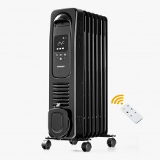 1500W Oil Filled Radiator Space Heater with Remote Control Black