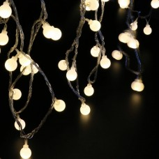 100 Led Globe Warm White Bulbs Frosted Christmas Outdoor Patio String