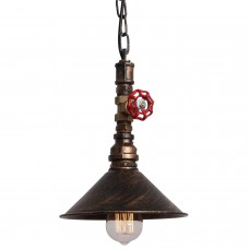 Rustic Black Metal Shade Water Pipe Pendant Light Max 60W With 1 Light Painted Finish
