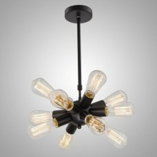 Modern Metal Hanging Ceiling Chandelier With 12 Lights Black finish