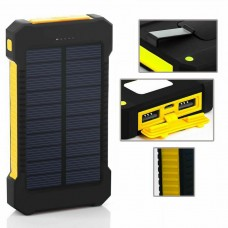 8000mAh Fast Charging Portable Solar Charger Battery Power Bank 2USB Waterproof-Yellow