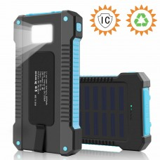 8000mAh Fast Charging Portable Solar Charger Battery Power Bank 2USB Waterproof-Blue