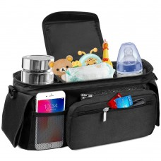 Universal Baby Stroller Storage Bag with 2 waterproof leak-proof insulated cup holders and large Detachable zippered clutch bag