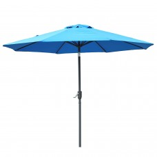 High Quality 9 Ft Garden Outdoor Table Patio Umbrella with Push Button Tilt and Crank,8 Ribs (Blue)