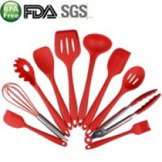 10-Piece Silicone Cooking Set Red- Spoons, Turners, Spatula & 1 Ladle Etc - Heat Resistant Kitchen Utensils - Easy to Clean Red