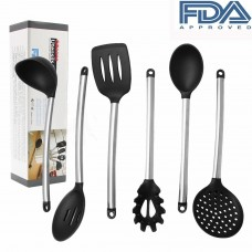 Smarten Cooking Utensils- 6 pcs Nonstick & Heat-Resistant , Silicone and Stainless Steel Cooking Tools, FDA Approved and BPA Free & Dishwasher Safe