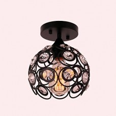 Vintage Industrial Flush Mount Ceiling Light in Black Paint Finish with Crystal Hollow Circular Shape, Mini Ceiling Light Black