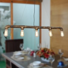Vintage Metal Water Pipe Pendant Light Max 300W With 5 Lights with Copper Finish